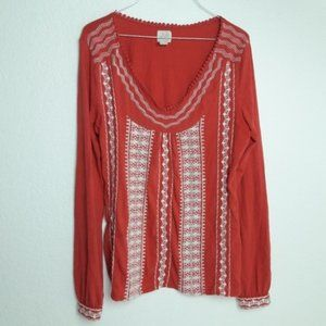 Lucky Brand M Boho Embroidered Blouse Rust L/S